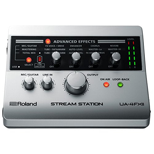 Roland UA-4FX2 Stream Station USB Audio Interface For Web Casting, 2-in/2-out USB Audio interface with 24-bit/96kHz Audio Fidelity