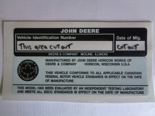Replacement 1983-1984 John Deere VIN Decal