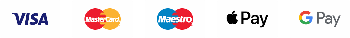Visa, Mastercard, Maestro, Apple Pay, Google Pay