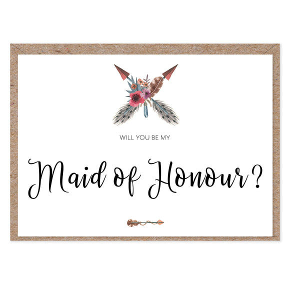 Boho 'Will You Be My Maid of Honour?' Card