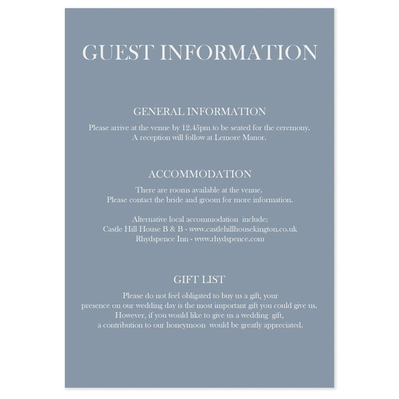 Madison Guest Information Card