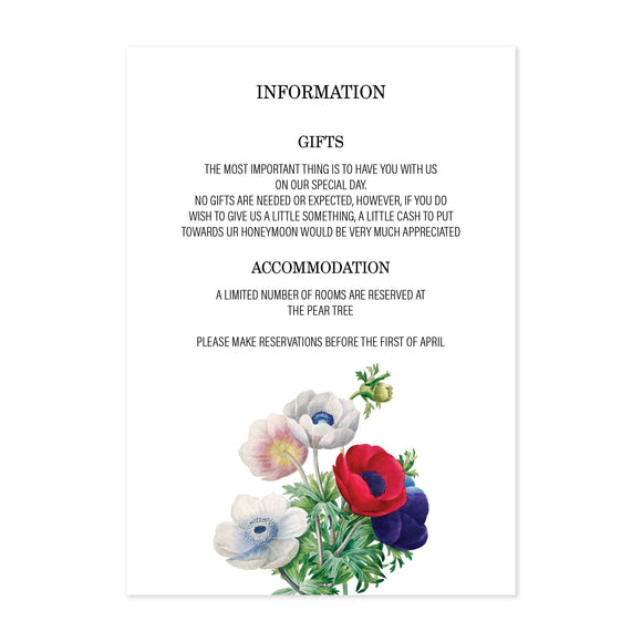 Poppy Guest Information Card