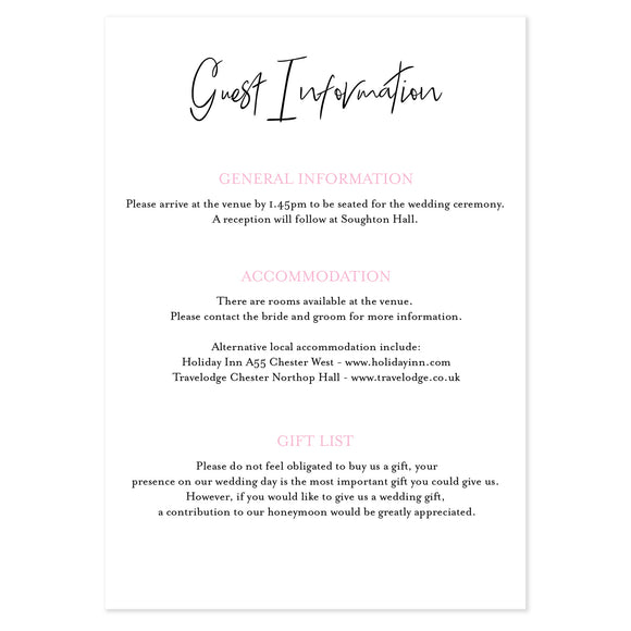 All My Heart Guest Information Card