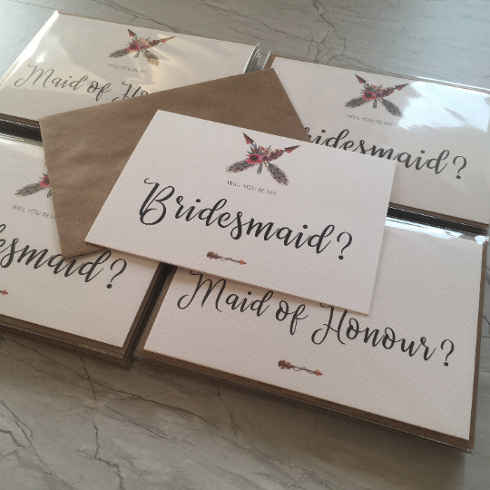 Boho 'Will You Be My Bridesmaid?' Card