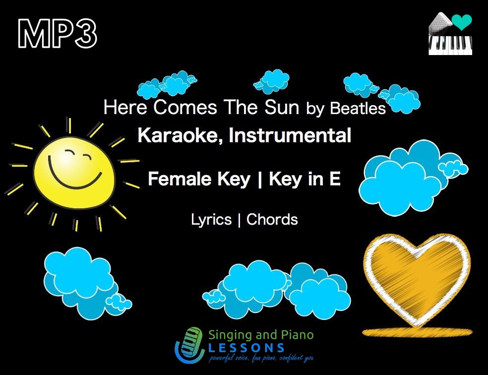 0 Here Comes The Sun Beatles Karaoke Instrumental in Female Key/ Baritone for Males