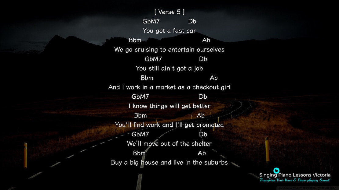 13 Verse Fast Car by Tracy Chapman, Karaoke in Higher Female Key(& Male, Baritone), HQ