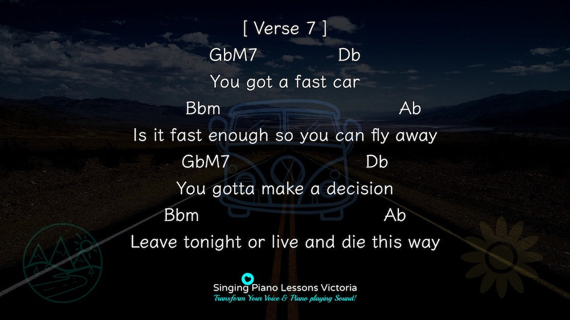 21 Verse Fast Car by Tracy Chapman, Karaoke in Higher Female Key(& Male, Baritone), HQ