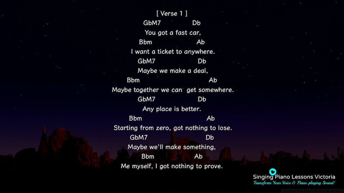 3 Verse Fast Car by Tracy Chapman, Karaoke in Higher Female Key(& Male, Baritone), HQ