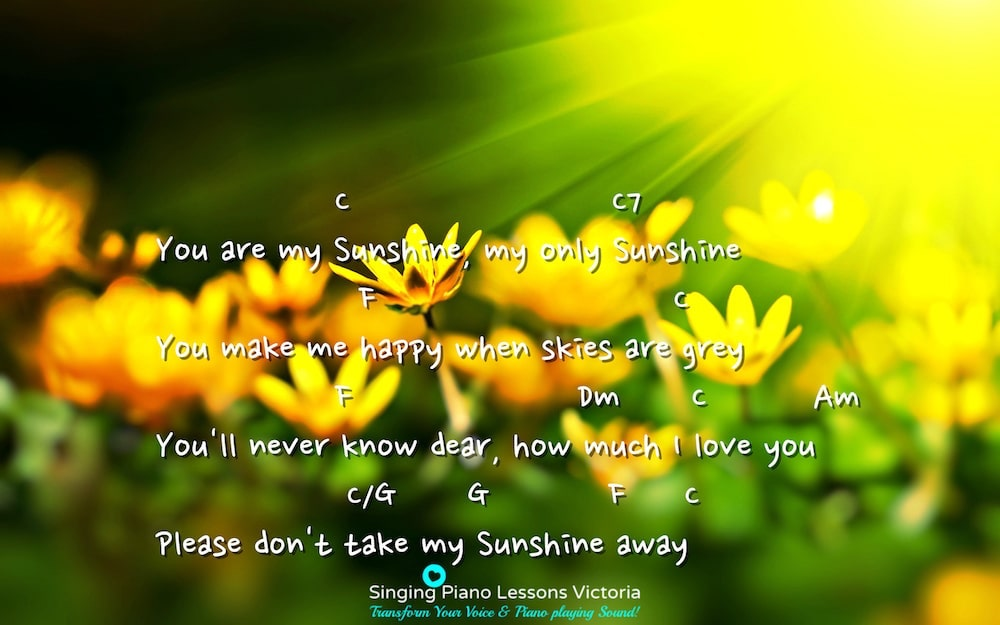 4 Verse 3 You are my Sunshine Karaoke in Female Key C 'with Faster Tempo'/ Baritone for Males