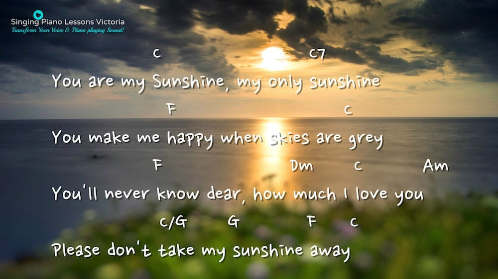 6 Verse 5 You are my Sunshine Karaoke in Female Key C 'with Faster Tempo'/ Baritone for Males