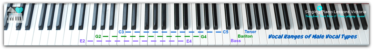 Difference between Vocal Ranges and Vocal Types-Vocal Ranges of Male Vocal Types