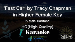 Fast Car by Tracy Chapman, Karaoke in Higher Female Key - Video MP4