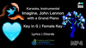 Imagine, John Lennon in Female Key Karaoke with a Grand Piano Instrumental - Video MP4