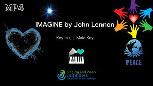 Imagine, John Lennon - Karaoke, Instrumental in Male Key C with Lyrics & Chords – Video MP4