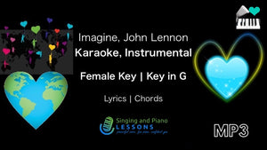 Imagine, John Lennon, Karaoke, Instrumental in Female Key G – Audio MP3