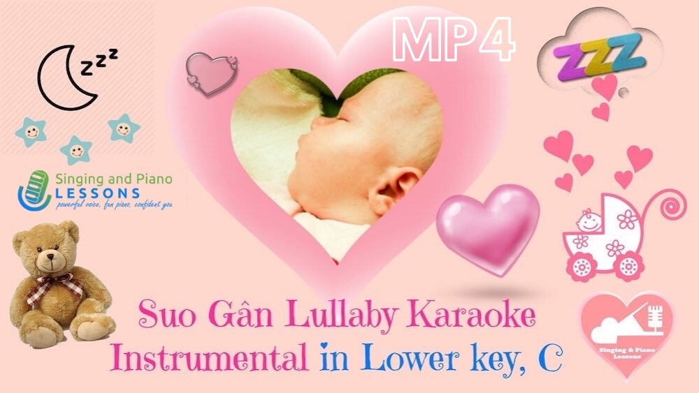 Suo Gan Lullaby Karaoke Instrumental in Lower key, C - Video MP4