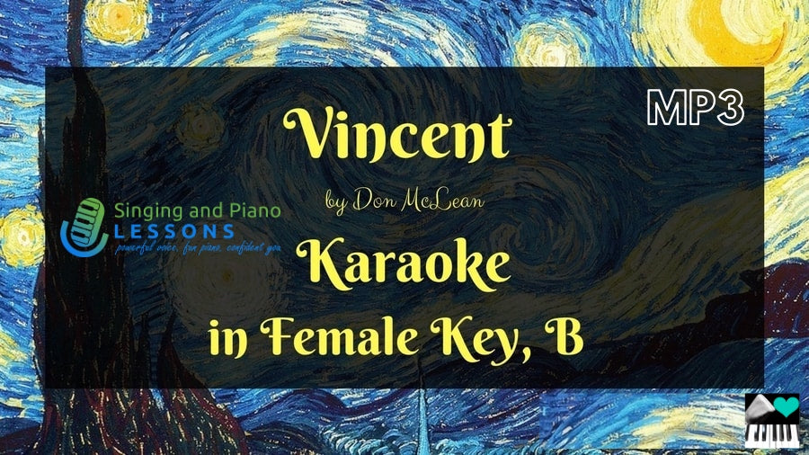 Vincent by Don McLean, Karaoke in Female Key B - Audio MP3