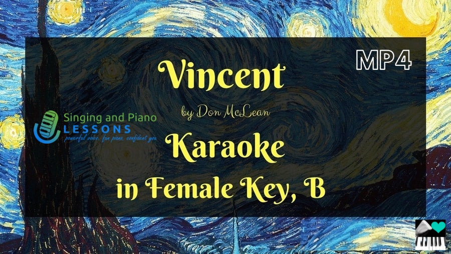 Vincent by Don McLean, Karaoke in Female Key B - Video MP4