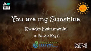 You Are My Sunshine Karaoke in Female key C – Video MP4