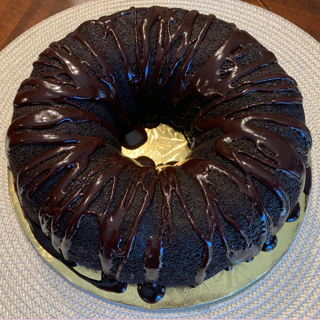 Physician In The Kitchen™ Mitchell's Chocolate Birthday Pound Cake (vegan, gluten-free), w/chocolate glaze