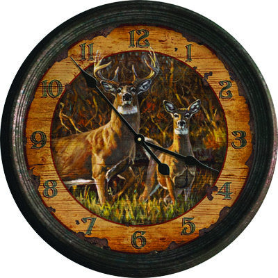 Clock - Rusted Buck & Doe 15