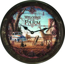 "Clock - Rusted Deer Scene Welcome to the Farm 15"" - GrayGoose Products Limited"