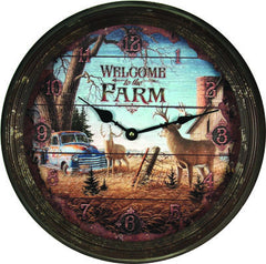 Clock - Rusted Deer Scene Welcome to the Farm 15""