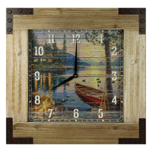 "Clock 24"" Wooden Frame - Cabin/Lake - GrayGoose Products Limited"