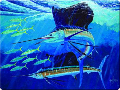 Glass Cutting Board - Guy Harvey Sailfish - GrayGoose Products Limited