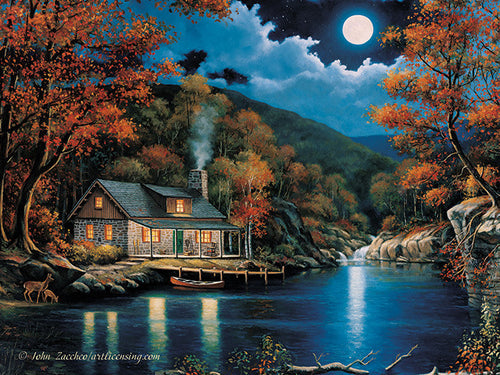 LED Canvas Art - Cabin by Lake - GrayGoose Products Limited