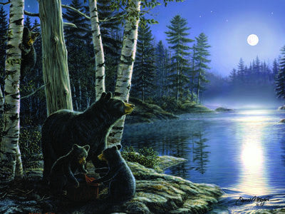 LED Canvas Art - Moonlight Bears - GrayGoose Products Limited