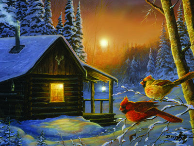 LED Canvas Art - Cabin Cardinals - GrayGoose Products Limited