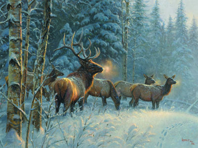 LED Canvas Art - Elk in Snow - GrayGoose Products Limited