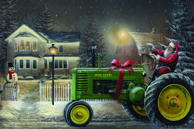 LED Canvas Art - Santa on Tractor - GrayGoose Products Limited