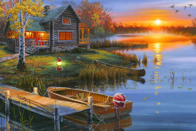 LED Canvas Art - Lake Cabin - GrayGoose Products Limited