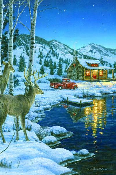 LED Canvas Art - Cabin Deer - GrayGoose Products Limited