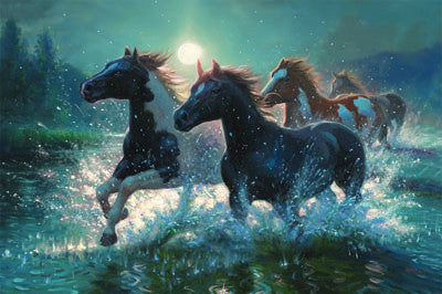 LED Canvas Art - Horses/ Water - GrayGoose Products Limited