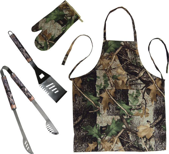 4 Piece BBQ Tools, Apron, Mitt Set - GrayGoose Products Limited