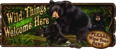 Wild Things Bear Wood Sign - GrayGoose Products Limited