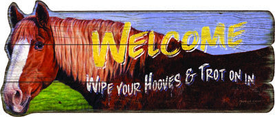 Welcome Horse Wood Sign