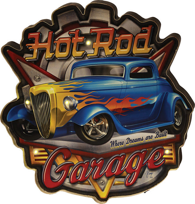 LED Metal Bar Sign - Hot Rod Garage - GrayGoose Products Limited