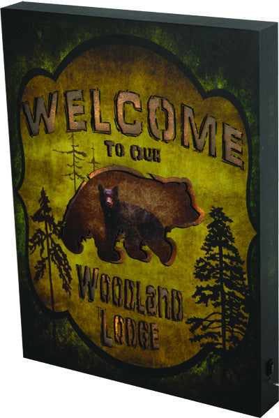 LED Wall Sign - Bear Woodland Lodge - GrayGoose Products Limited