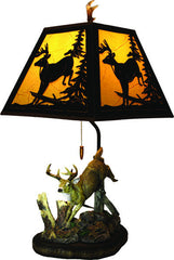Table Lamp - Deer w/Metal Shade