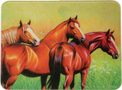 Glass Cutting Board - 3 Horse - GrayGoose Products Limited