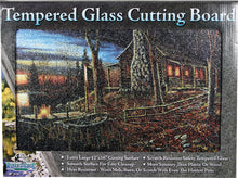 Glass Cutting Board - Cabin Scene - GrayGoose Products Limited