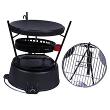 "CampMaid Combo Set 12"" Oven/Lid Lifter/Flip Grill/Charcoal/Wood Holder Heat Source/Kick Stand/Stand - GrayGoose Products Limited"