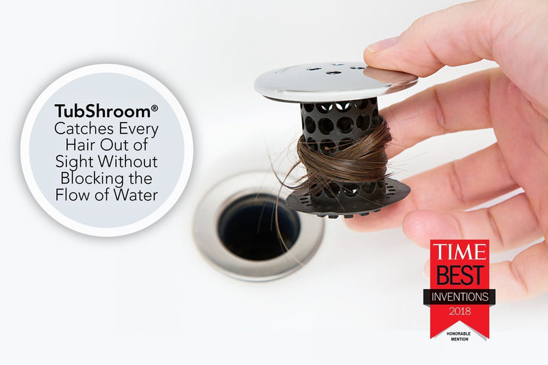 TubShroom® (Black Chrome) the Hair Catcher That Prevents Clogged Tub Drains
