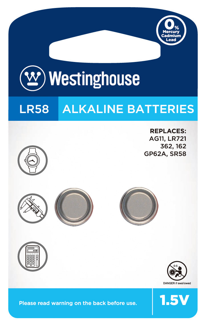 Westinghouse AG11 / 362 / LR721 1.5V Button Cell Battery 2pk