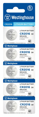 westinghouse, CR2016, 3V lithium, button cell