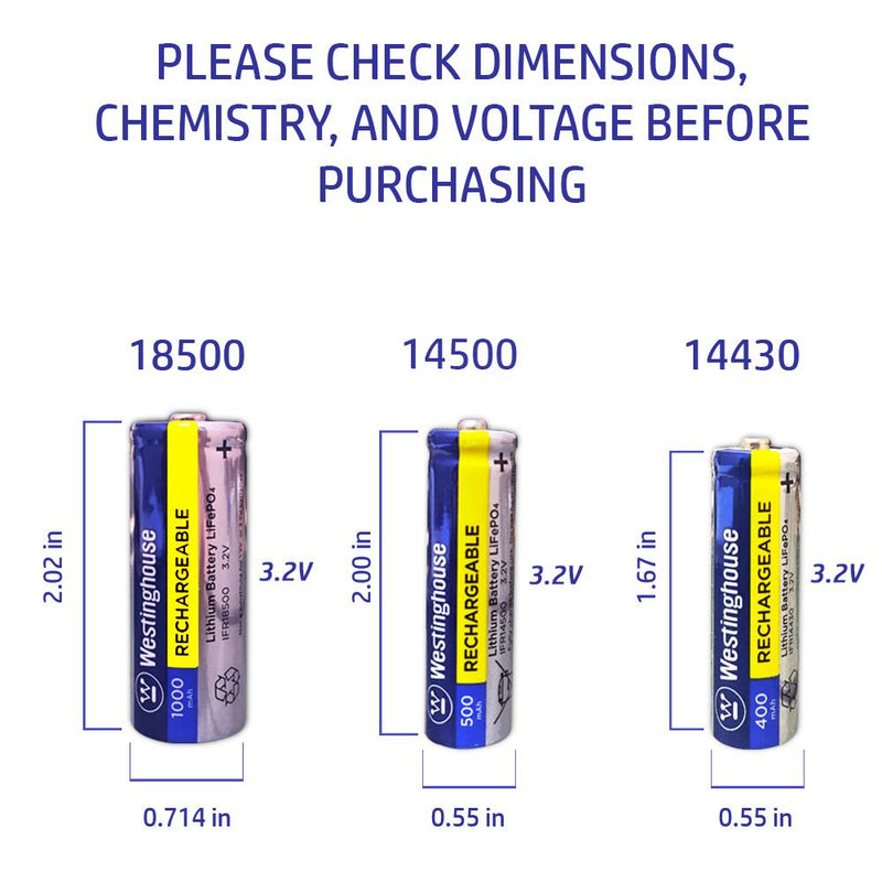 westinghouse, LifePO4, 14430, 3.2V, 400mAh, rechargeable battery, solar battery